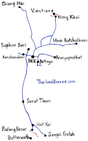 a map of the main train lines in thailand