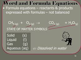 word and formula equations 11 methane combustion
