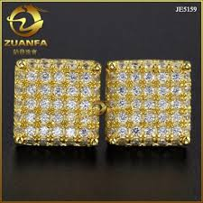 micro pave vvs lab created diamond hip hop earrings men gold