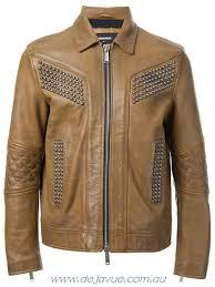dsquared2 brown men s leather jackets jacket studded
