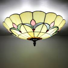 beige stained glass chandelier light fixture tiffany flush modern ceiling lamps