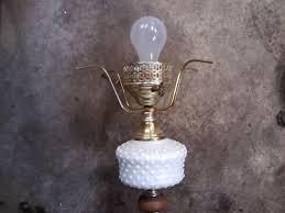 fenton white milk glass hobnail floor lamp 54 12 tall wchimney vintage
