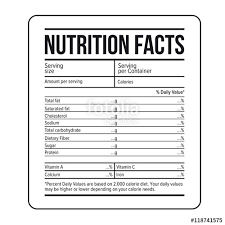 free nutrition label template facts vector stock image and royalty