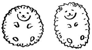 丸まったハリネズミのかわいい手書きイラスト2020年干支 ねずみ子