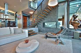 sunken living room with plant