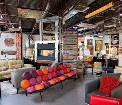 Colorful modern furniture Red Violet Attractive Mod Retro Furniture Store Diplaying Colorful Modern Furniture Including Tufted Sofa And Gray Small Chair Rotaryhanovercom Furniture Attractive Mod Retro Furniture Store Diplaying Colorful