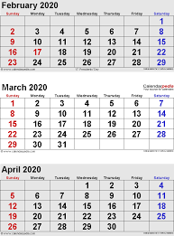 March 2020 Calendars For Word Excel Pdf