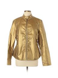 baccini women gold faux leather jacket xl