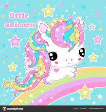 Cute Kawaii Rainbow Unicorn Stars Blue ...