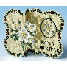 <b>Golden Flowers</b> Christmas Card <b>3D</b> Cross Stitch Kit only £9.95