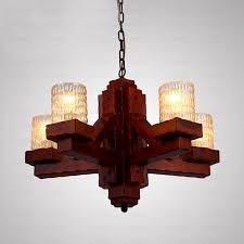 wooden wrought iron and glass rustic chandeliers