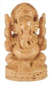 wood carved ganesha hover to zoom