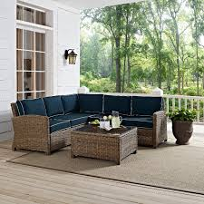 navy and brown 4 piece outdoor patio furniture set bradenton rc willey furniture