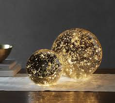 Mercury Glass Globes With Lights Mercury Globes In 2019 Glass Globe Pottery Barn Lighting