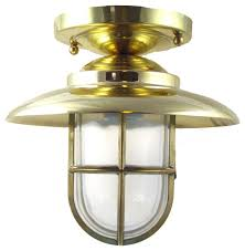 hooded flush mount light solid brass interior exterior by shiplights beach style