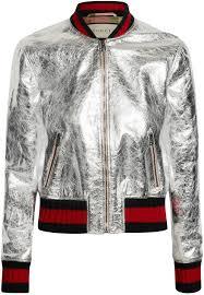 gucci metallic leather er jacket silver