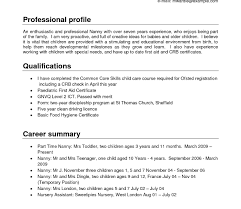 Resumes Nanny Resumeemplate Sample Featuring Child Care Skills