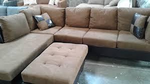sec 3 tan dark brown microfiber leather sectional