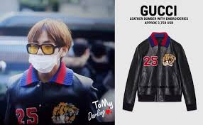 gucci clothing. taehyung is well known for his good looking streetwear, but him wearing this gucci leather jacket tops everything off. gucci clothing