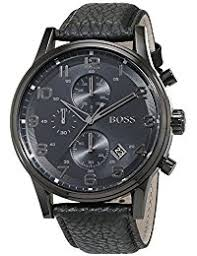 amazon co uk hugo boss watches hugo boss mens quartz watch chronograph display and leather strap 1512567
