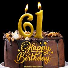 61 birthday chocolate cake with gold
