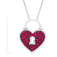 details about 1 ct created ruby heart pendant with diamonds in sterling silver