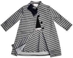 Youngland Toddler Girls 2 Piece Coat Dress Houndstooth Black