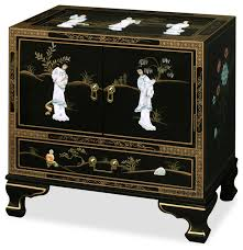 lacquered furniture. black lacquer pearl figure motif lamp table asiansidetablesandend lacquered furniture d