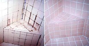before and after of cleaning removing mildew stains from grout using x remove mold caulk