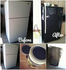 chalkboard painting a fridge