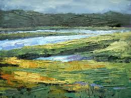 oil landscape palette knife painting georgia marsh by schiff 6x8 oil sold