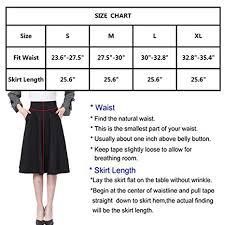 Womens High Waist A Line Skirt Pleated Knee Length Midi