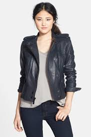 lyst vince camuto lambskin leather moto jacket in blue