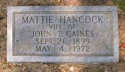 Mattie Elma Hancock Gaines (1899-1972) - Find A Grave Memorial