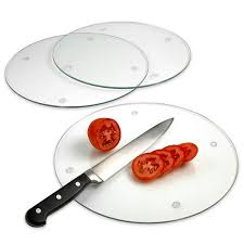 set of 3 round tempered glass cutting board scratch heat shatter resistant 3 round 12