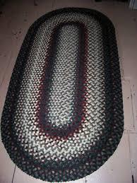 vintage antique handmade oval wool braided rug 6 x 3