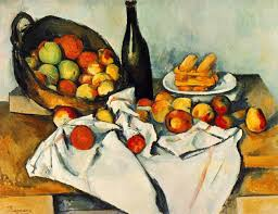 paul cezanne still life with bottle and apple basket 1893