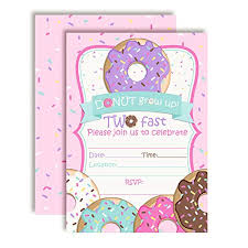 Donut Grow Up 2nd Birthday Party Invitations Girl