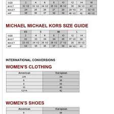 Sizing Chart Michael Kors