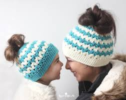 Bun Hat Pattern Delectable Crochet Mommy And Me Messy Bun Hats Repeat Crafter Me