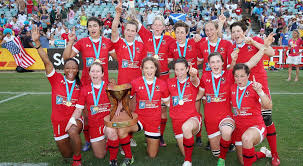 canadian players pose for a photo as they celebrate their win over united states in the women s final at the world rugby sevens series rick rycroft ap