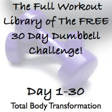 the full workout library of the free 30 day dumbbell challenge