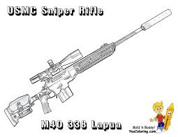 Marine Corps M40 338 Sniper Rifle Coloring Page Drawing Military