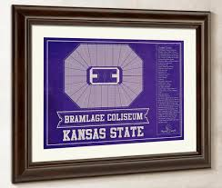 Kansas State Wildcats Bramlage Coliseum Seating Chart College Basketball Blueprint Art