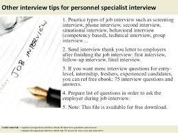 Personnel Specialist Job Description Tele Interviewer Resume Lesom