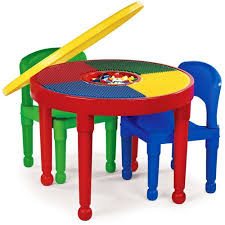 table 2 chairs. tot tutors kids 2-in-1 plastic lego-compatible activity table and 2 chairs