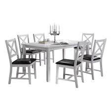 Oakland Living Indoor White And Black Cross Back 7 Piece Dining Set