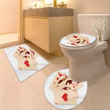 anhuthree alice in wonderland bathroom toilet mat set crown r queen hearts royal fairy flush face magic theme 3 piece bathroom contour rugs brown red