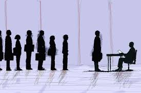 what is a management or leadership assessment center business people lined up for job interview