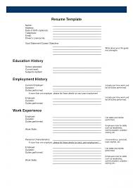 Resume Resume Example Blank To Print Free Sample Forms Orglearn